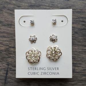Francesca's Sterling Silver Flower Earring Set